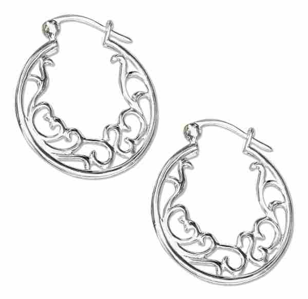 "1"" Tube Hoop Earrings Featuring Inscribed Heart Scroll"