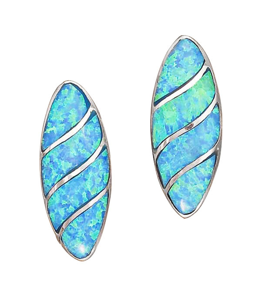 Imitation Blue Opal Oval Inlay Post Earrings