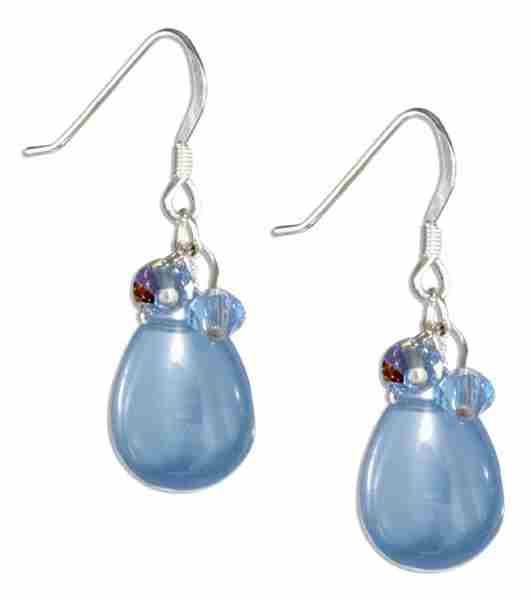 Smooth Imitation Lite Blue Chalcedony Teardrop Earrings Blue Aus