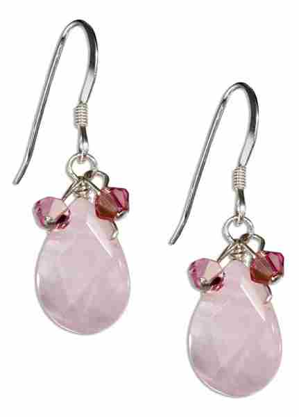 Faceted Pink Rose Quartz Teardrop Earrings Pink Austrian Crystals