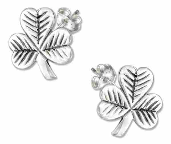 Shamrock Three 3 Leaf Clover Post Earrings