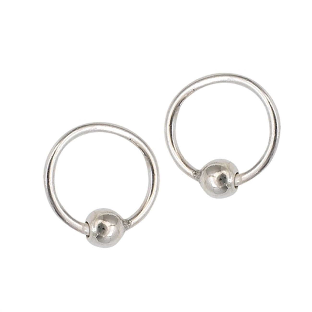 10mm Single Bead Ball Latch Hingeless Endless Captive Hoop Earrings