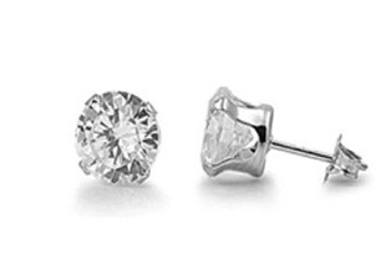10mm Diameter Round Clear Cubic Zirconia Stud Post Earrings