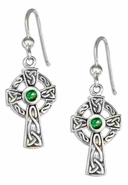 "1/2"" Antiqued Celtic Knot Cross Dangle Earrings 3mm Round Green"