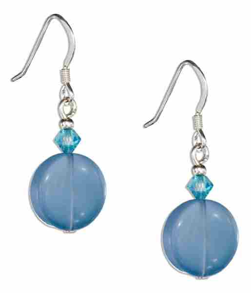 Round Imitation Lite Blue Chalcedony Earrings Blue Austrian Crys
