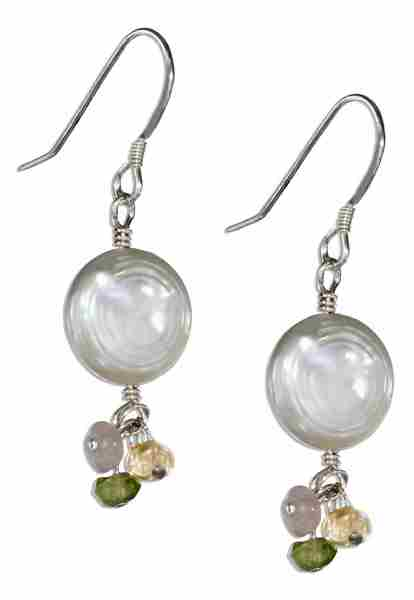 White Freshwater Coin Pearl Earrings Multi Gemstone Dangles