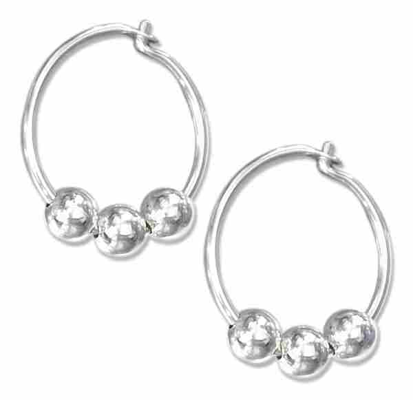 12mm Diameter Three Beads Endless Hoop Hingeless Earrings