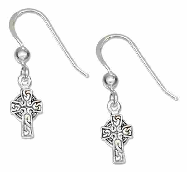 "1/4"" Antiqued Celtic Cross Bead Dangle Earrings"