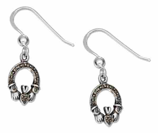 "1/4"" Marcasite Claddagh Dangle Earrings"