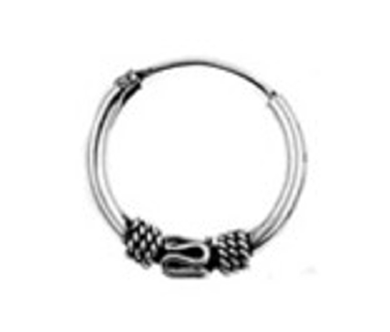 "14mm (9/16"") 3 Bali Charms Tubular Endless Single Hoop Earring"