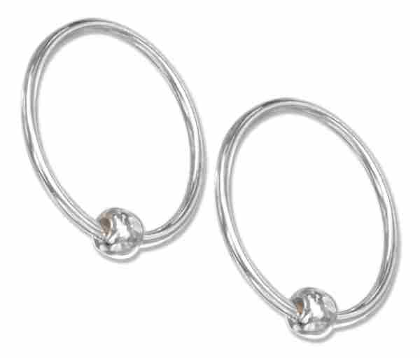 14mm Diameter Single Bead Endless Captive Hoop Earrings