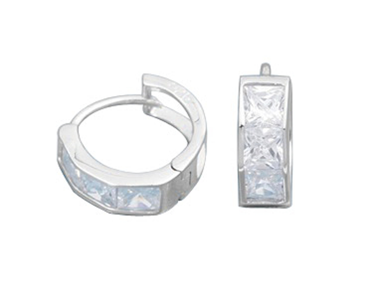 14mm Diameter Three Square Cubic Zirconia Stone Huggie Hoop Earrings