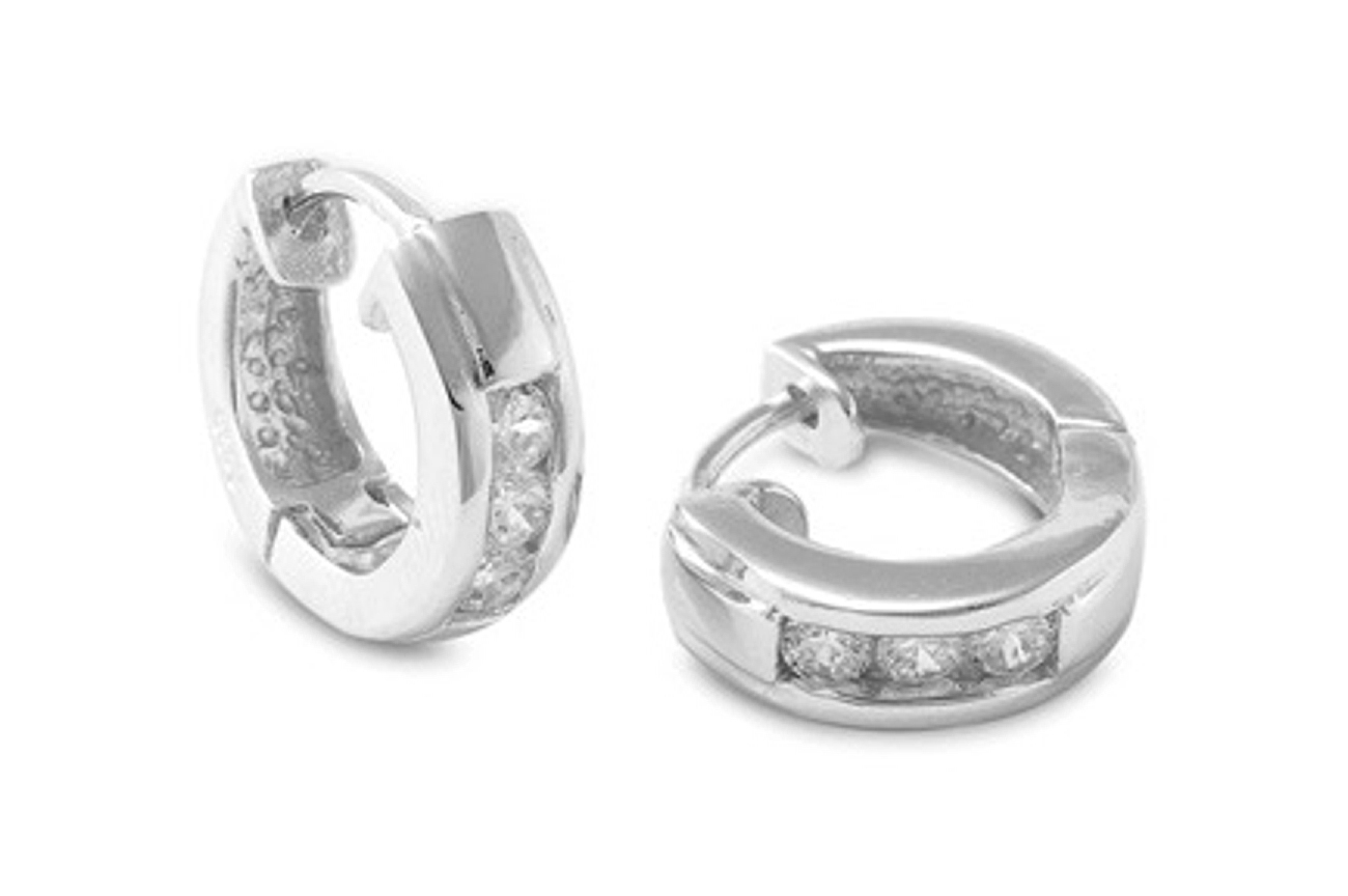 15mm Diameter Three Round Cubic Zirconia Stone Huggie Hoop Earrings