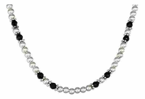 Faceted Black Onyx Choker Necklace Bali Daisy 4mm Ball Spacers