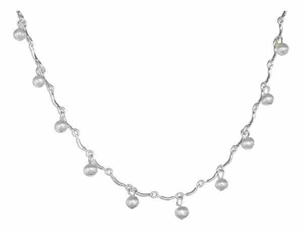 Curve Link Freshwater Pearl Drops Choker Necklace