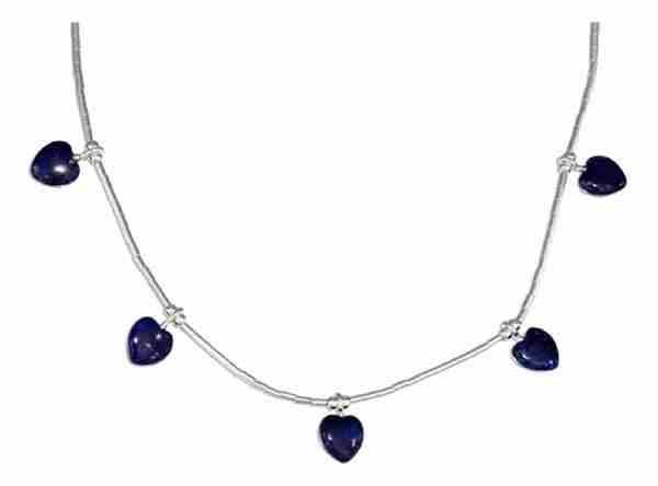 Lapis Heart Choker Necklace