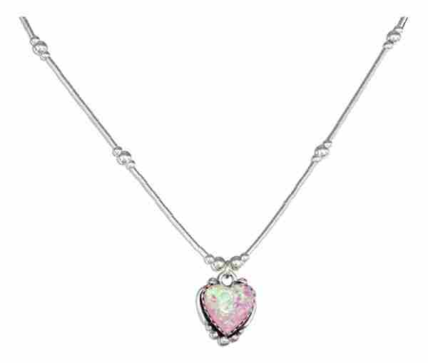 Liquid Silver Choker Necklace Pink Opal Heart Pendant