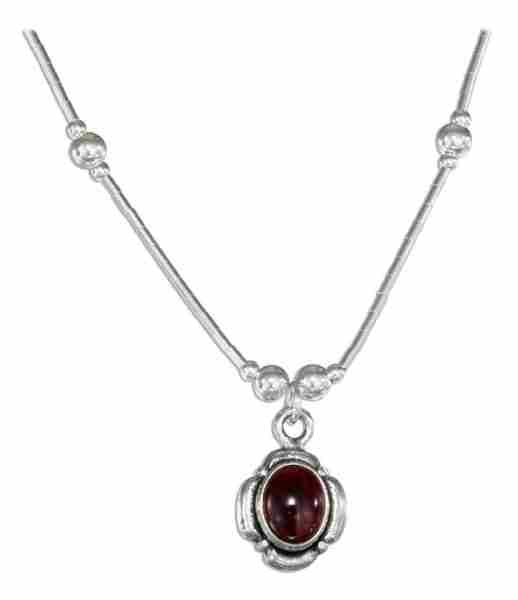 Choker Necklace Petal Border Garnet Beads