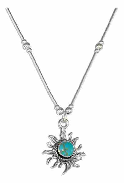 Choker Necklace Turquoise Sunface Pendant Beads