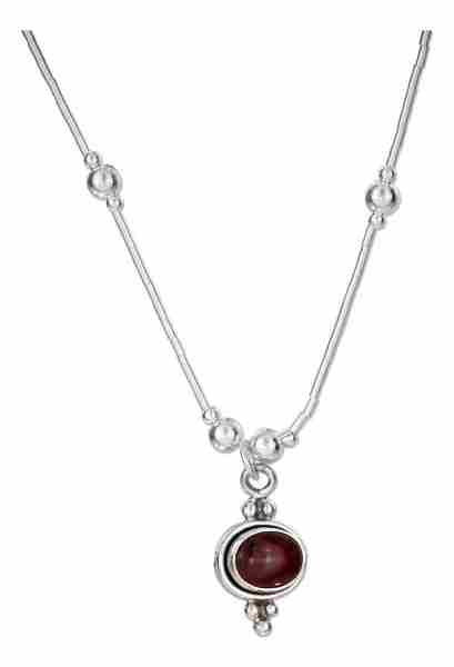 "16"" Liquid Silver Garnet Choker Necklace"