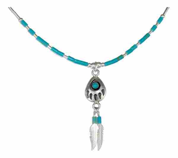 Choker Necklace Turquoise Bearpaw Eagle Feather