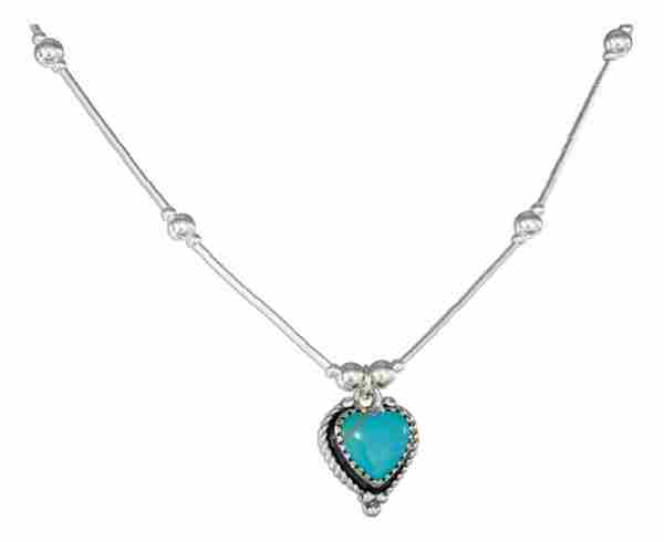 Liquid Silver Choker Necklace Turquoise Heart Pendant