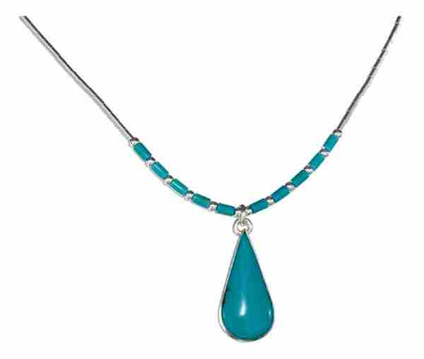 Turquoise Heishi Beads Teardrop Pendant Choker Necklace