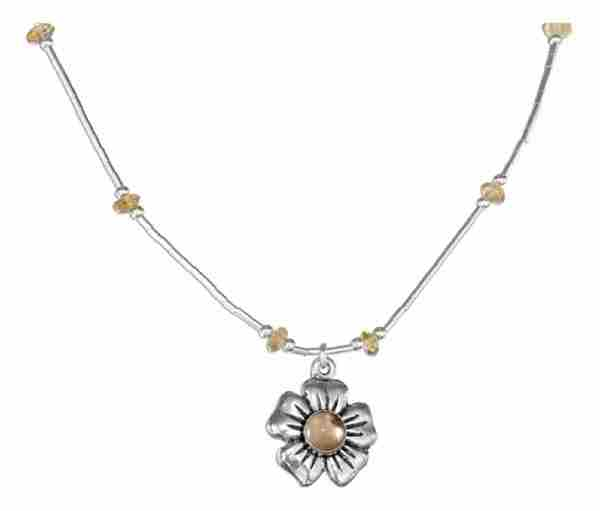 Citrine Chips Choker Necklace Flower Pendant