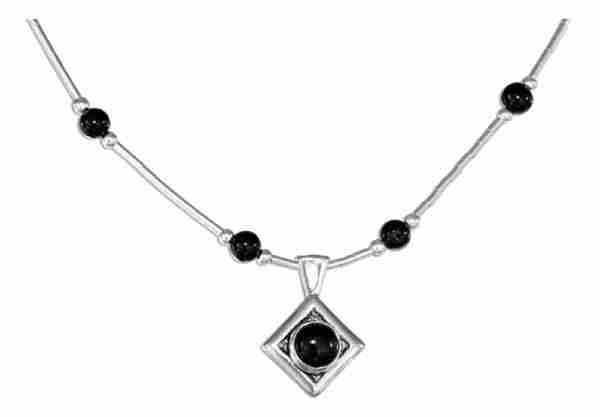Black Onyx Beaded Choker Necklace Black Onyx Pendant