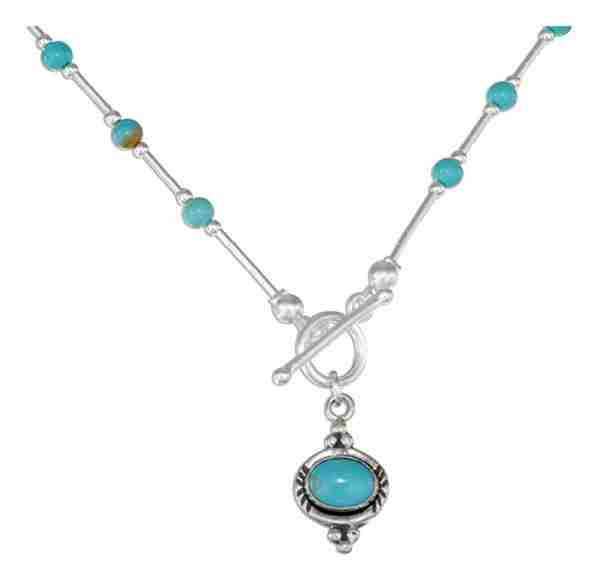 Turquoise Beaded Toggle Choker Necklace Turquoise Pendant