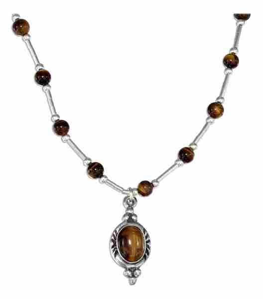 Tiger Eye Beaded Choker Necklace Pendant
