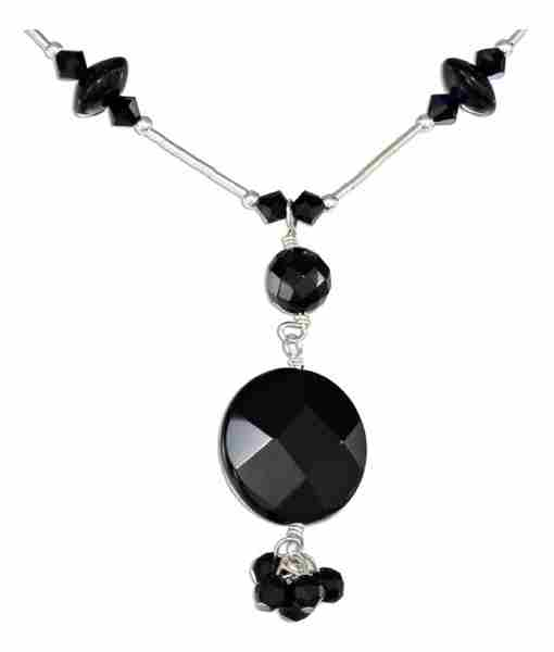 Black Onyx Crystal Choker Lariat Tassel Necklace