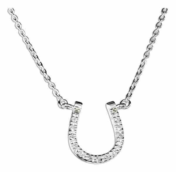 Cubic Zirconia Horseshoe Pendant Choker Necklace
