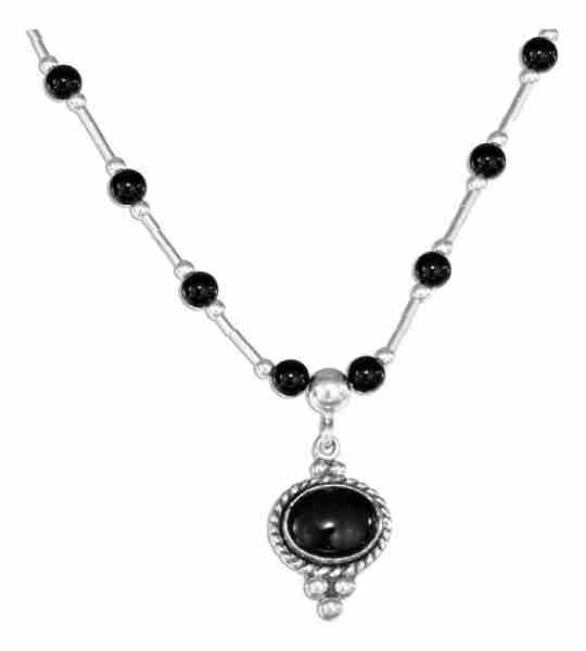 Black Onyx Eight Black Onyx Beads Choker Necklace
