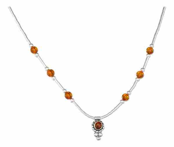 Honey Cognac Amber Beads Pendant Choker Necklace