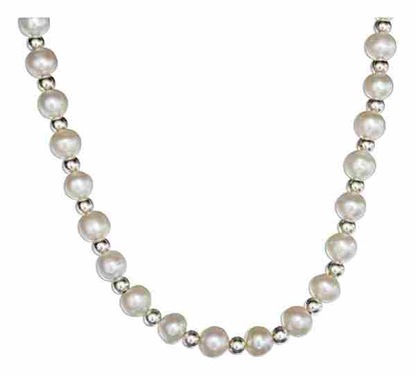 Freshwater Pearl Necklace 3mm Silver Spacers