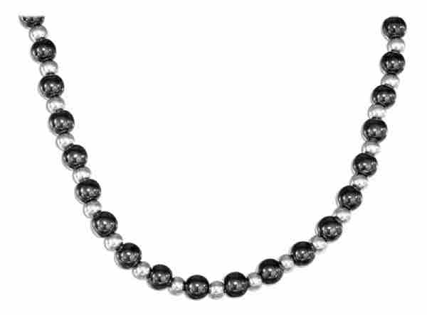 Hematite Necklace 3mm Silver Spacers