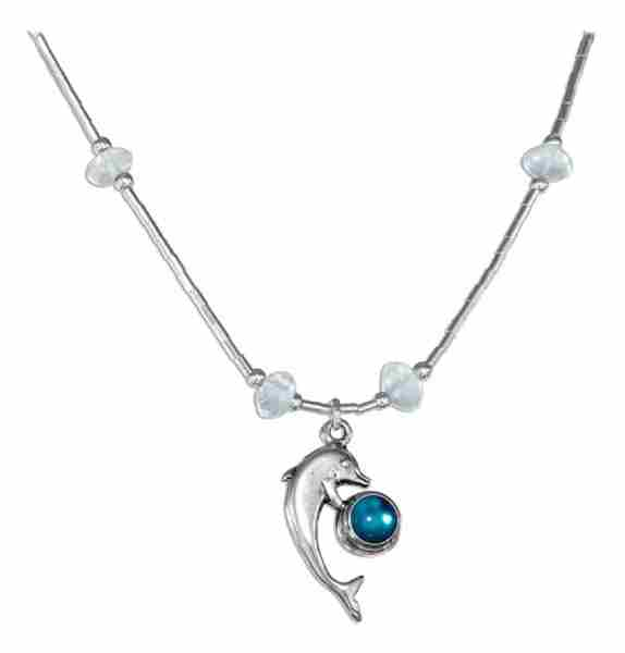 Blue Glass Dolphin Necklace With Blue Topaz Chips