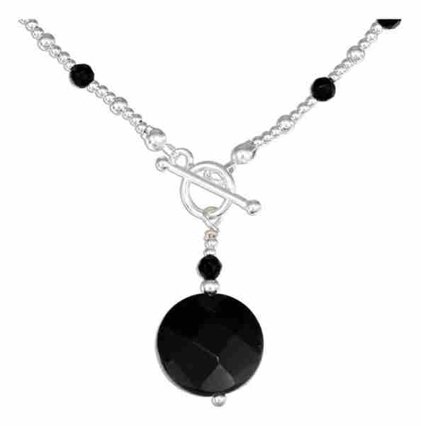 Black Onyx Pendant Beaded Black Onyx Toggle Choker Necklace