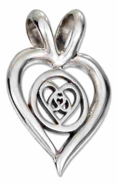 16mm Open Heart Pendant Inverted Hearts In Center