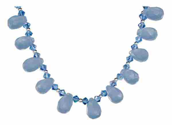 Blue Chalcedony Briolettes Blue Austrian Crystals Necklace