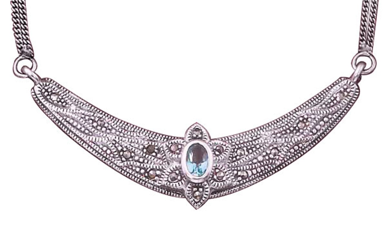 Oxidized Double Curb Necklace Marcasite Crescent Blue C