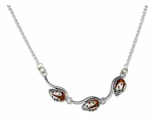 Triple Honey Cognac Amber Ladybug Necklace On Cable Chain Neckla