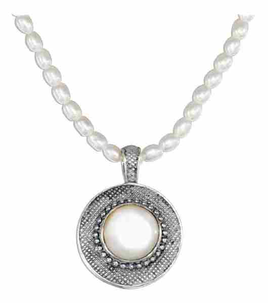 White Freshwater Pearl Necklace Mother Of Pearl Pendant