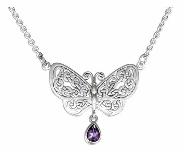 "18"" Antiqued Cable Necklace Celtic Knot Butterfly Amethyst Stone"