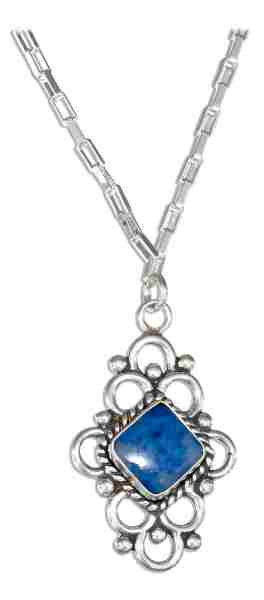 Cable Chain Necklace Diamond Shaped Lapis Loop Pendant