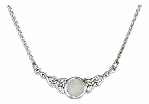 Celtic Knot Moonstone Pendant Necklace