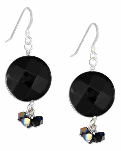 Faceted Black Onyx Disc Earrings Black Aurora Borealis Crystal D