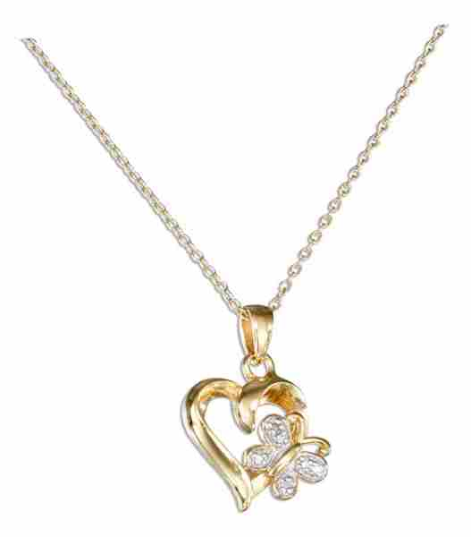 "18kt 18"" Vermeil Cable Chain Necklace Open Heart Butterfly Penda"