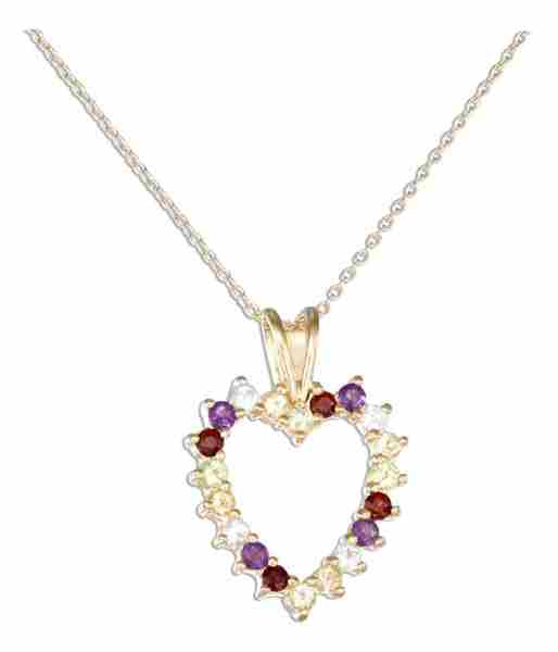 "18kt 18"" Vermeil Cable Necklace Assorted Stones Open Heart Penda"